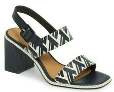 $298 Tory Burch Delaney Women's Saffiano Leather Heel Sandals Blue White Size 6