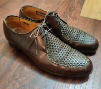 Vintage Florsheim Shoes Silverwoods LA Woven Brown Leather Oxfords Men's Sz 9 C