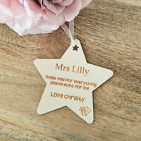 Personalised Wooden Tag - Thank You Teacher - Custom Teacher Star Gift Tag