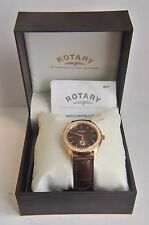 Rotary Ladies Rose Gold Brown Dial Leather Strap Watch LS02907/16~RRP £160 ~BNIB