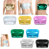 Women's Shiny Metallic Strapless Crop Tube Top Rave Bandeau Bra Tank Top T-shirt