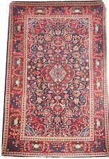 Oriental carpet handmade Persian Kshan wool rug with indigo field 6.7'x4.4'