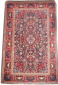 Oriental carpet handmade Kshan wool rug in excellent condition size 6.7'x4.4'
