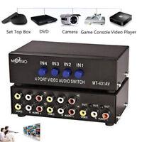 4 Fach Audio/Video Umschalter Verteiler Splitter AV RCA Adapter Cinch Switch Box
