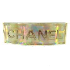 Authentic CHANEL Vintage CC Logos Hair Barrette Silver Plastic B31594