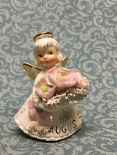 Vintage LEFTON Angel figurine Poppy Peridot AUGUST Birthday Angel