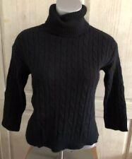 Acrobat Cabled Turtleneck Sweater Size Small Cotton Angora Black 3/4 Sleeve