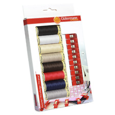 Gutermann Sew-All Thread Set with 10 Fabric Clips, Multi-Colour, 8 x 100 m