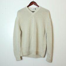 Bullock & Jones Men's XL Beige V-Neck Linen Cotton Knit Sweater