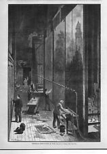 THEATRICAL SCENE PAINTERS ARTISTS WORK BEHIND THE STAGE THEATRE CANVAS CURTAINS
