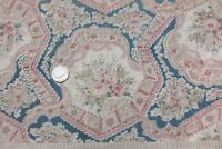 Antique Pale Pink & Blue Printed Roses & Lacy Medallions Romantic Cotton Fabric