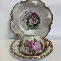 Royal Sealy Japan VTG Fine China Cup&Saucer Luster Pierced Gold &Matching Bowl