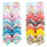"6 Pcs/Set Rainbow Printed Knot Ribbon Bow Hair Chip For Kids Girls Hair bow 5.5"""