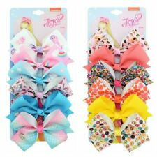6 Pcs/Set Rainbow Printed Knot Ribbon Bow Hair Chip For Kids Girls Hair bow 5.5""