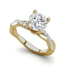 Diamond Engagement Ring Yellow Gold Twist 2 Carat Vs2/D Round Cut