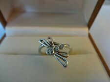 DISCONTINUED CLOGAU SILVER & WELSH GOLD DRAGONFLY / DAMSELFLY RING size N