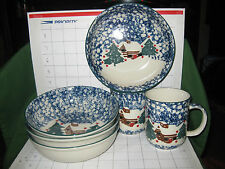 """Folk Craft Tienshan Christmas Tree """" Cabin In The Snow"""" 6 Pc 4 Bowls 2 Cups"""