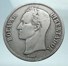 1936 Freemason President Simon Bolivar VENEZUELA Founder 5BLV Silver Coin i82538