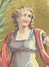 1880s WOOLSON SPICE CO EASTER GREETING TRADE CARD, PRETTY LADY, FREE SHIP, TC596