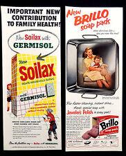 Vintage 1958 Soilax cleaner Brillo soap pad advertisement print ad art