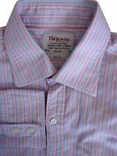 TM LEWIN LUXURY Shirt Mens 15.5 M Blue - Pink Stripes SLIM FIT