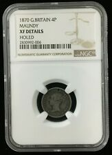 1870 Great British Maundy 4 Pence 4P Coin NGC XF Details Holed Only 4,569 Minted