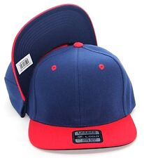 PLAIN SNAPBACK HAT CAP COLOR NAVY RED ADJUSTABLE POLYESTER ONE SIZE FITS ALL