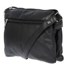 Kleine echt Leder Damen Umhängetasche Schultertasche Tasche Handtasche Schwarz