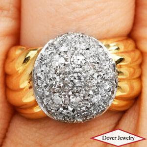 Estate 0.70ct Diamond 18K Gold Lovely Cluster Ring 8.4 Grams NR