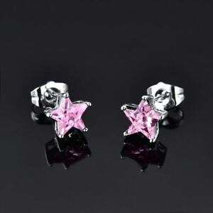 Beautiful New White Gold Filled Pink Sapphire CZ Star Shape Stud Post Earrings