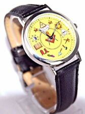 MASONIC WATCH MASONIC COLOURED SYMBOLS SUPERB DETAIL BLACK STRAP