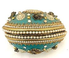 Antique Easter Hand Decorated Real Egg Jeweled Box