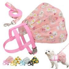 Nylon Pet Dog Vest Harness and Lead Leash Floral Puppy Cat Walking Dress Skirt