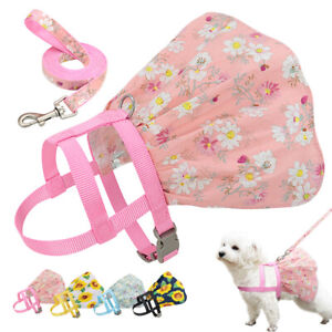 Floral Small Dog Dress With Matching Leash Summer Skirt Vest Harness Costume SML