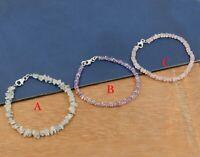 925 Sterling Silver Fluorite Amethyst Rose Quartz Beads Handmade Gift Bracelet