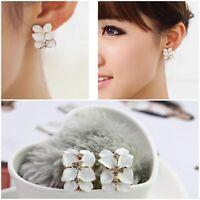 New Lovely Women Lady Elegant Crystal Rhinestone Flower Ear Stud Earrings Gift