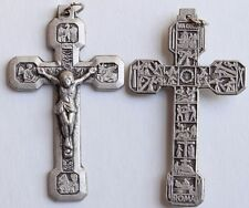 Silver Oxidized Large Stations of the Cross Four Evangelist Crucifix 2.5""