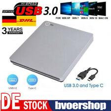 Externes DVD Laufwerk für PC Laptop USB 3.0/Typ-C Brenner Slim CD DVD-RW Brenner