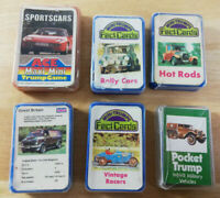 Set of 6 x Vintage Mini Trumps / Fact Cards. Car Themed, Hot Rod, Sports Cars
