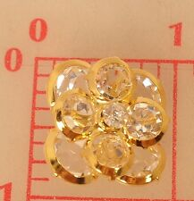 "Multi layer gold rhinestone Czech shank button flower design 7/8"" x 1"" 21mm #515"