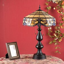 Tiffany-Style Vintage  Handmade Stained Glass Lamp Desk Light Floral Shell