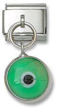 Italian Charm Dangle Green Glass Lucky Evil Eye 9 mm Stainless Steel Bracelet