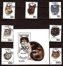TANZANIE SérieN° 967A-967G oblitérés avec bloc : les races de chats C160