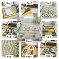 NEW Rugs with Mustard Yellow Geometric Rug Modern Runner Rugs for Living Area