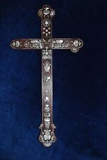 """Fine Antique 19"""" Wood Carved Mother Of Pearl Cross Some Damage Chinese Export"""