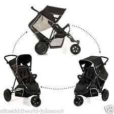 NEW Hauck BLACK FreeRider tandem Double twin pushchair pram  3 wheeler+RAINCOVER