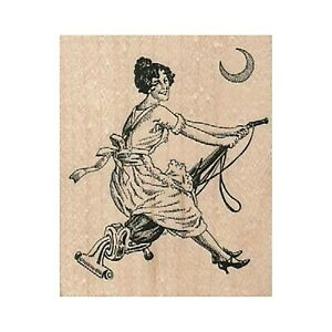 Lady Riding Vacuum RUBBER STAMP, Housewife Stamp, Witch Stamp, Domestic Goddess