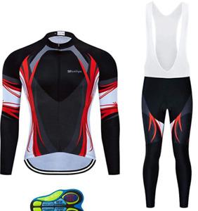 Regular, Big & Tall Men's Cycling Long Sleeve Bike Shirt and/or Bib Pants Set