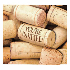 8 Wine Cork Sip Sip Hooray Birthday Party Invitations Invites & Envelopes