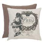 clayre & eef Funda De Cojín Vintage París 40x40cm Shabby NUEVO Beige Marrón